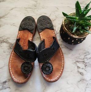 Jack Roger's Black Preppy Slip on Sandals Size 6